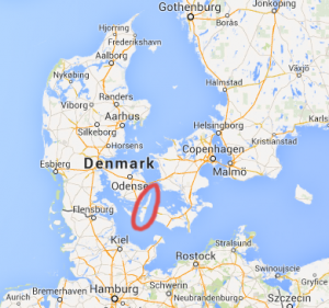 The island of Langeland is circled in red.
